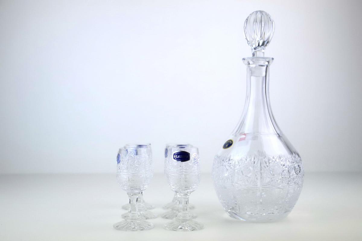 Bicchieri con bottiglia cristallo boemia cristalli oggetti
