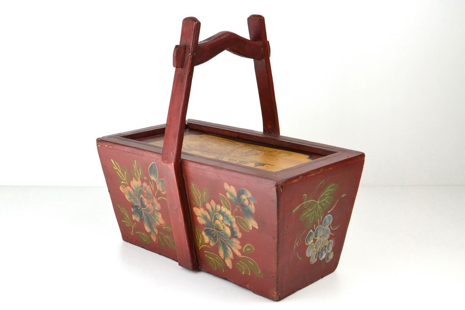 Cestini Da Lavoro Per Cucito cestino di legno dipinto , legno, oggetti rurali, oggetti vecchi